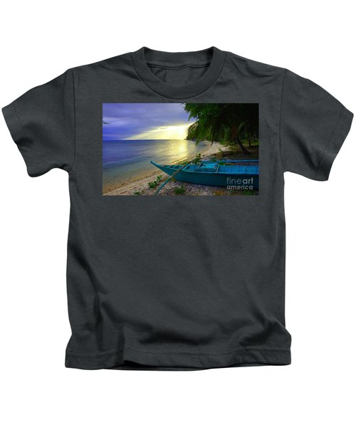 Blue Boat And Sunset On Beach Kids T-Shirt