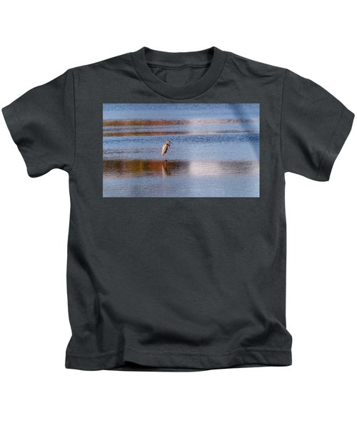 Blue Heron Standing In A Pond At Sunset Kids T-Shirt