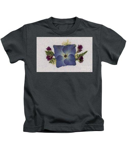 Blue Hydrangea Pressed Floral Design Kids T-Shirt