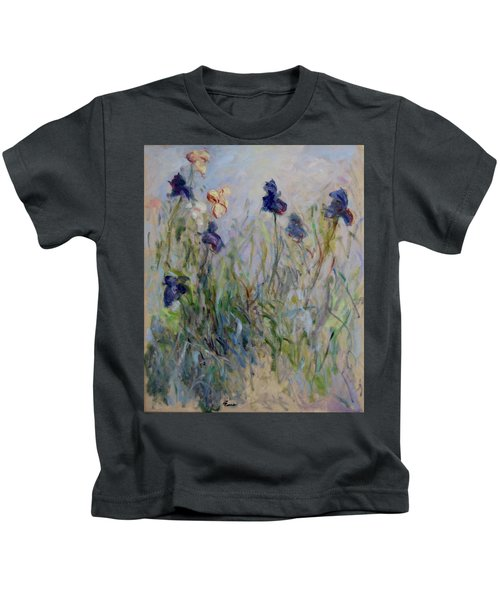 Blue Irises In The Field, Painted In The Open Air  Kids T-Shirt