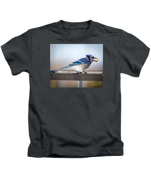 Blue Jay With A Mouth Full Kids T-Shirt