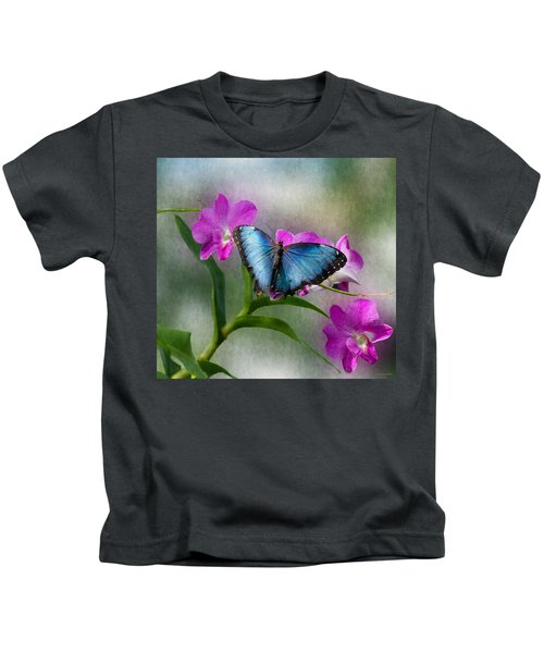 Blue Morpho With Orchids Kids T-Shirt