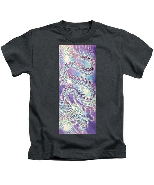 Blue Purple Japanese Dragon Kids T-Shirt