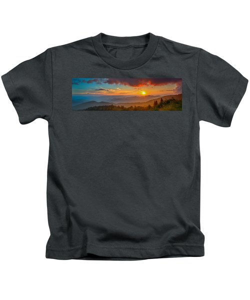 Blue Ridge Sunset Pano Kids T-Shirt