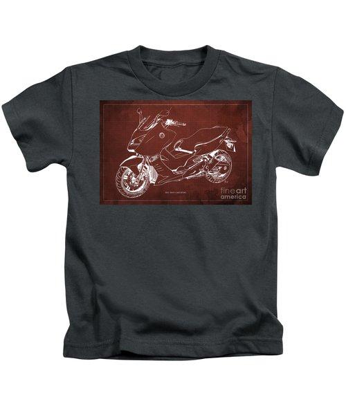 Bmw C600 Sport 2013 Blueprint Red And White Art Print Kids T-Shirt