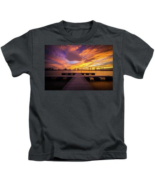 Boat Dock Sunset Kids T-Shirt