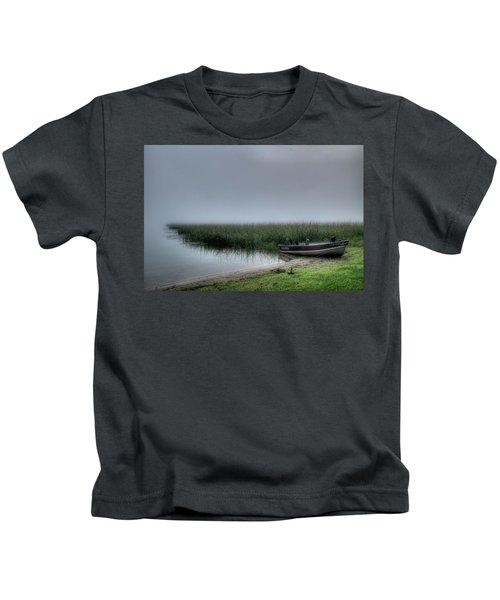 Boat In The Fog Kids T-Shirt