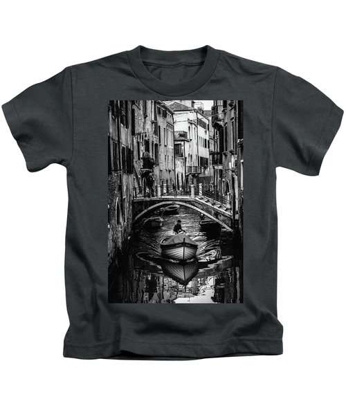 Boat On The River-bw Kids T-Shirt