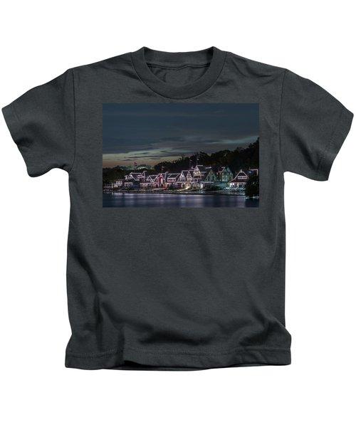 Boathouse Row Philly Pa Night Kids T-Shirt