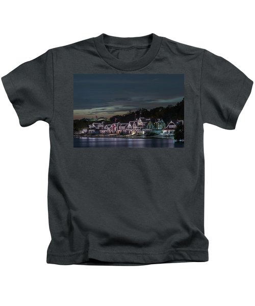 Boathouse Row Philly Pa Night Kids T-Shirt