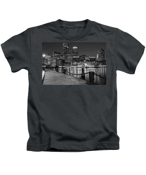 Boston Waterfront Boston Skyline Black And White Kids T-Shirt