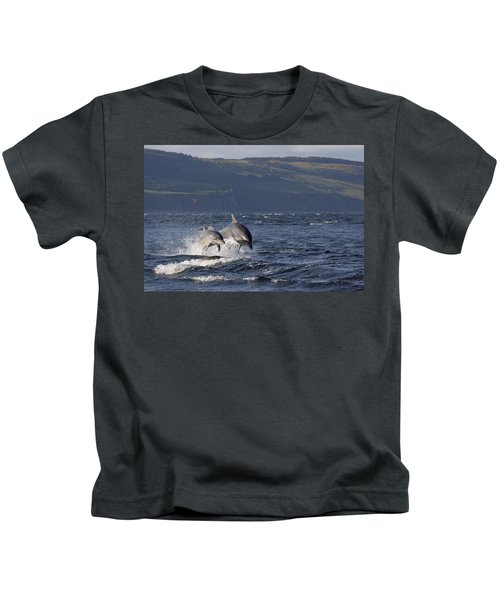 Bottlenose Dolphins Leaping - Scotland  #37 Kids T-Shirt
