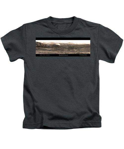 Boulder Colorado Sepia Panorama Poster Print Kids T-Shirt