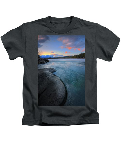 Boulders And Ice On The Athabasca River Kids T-Shirt