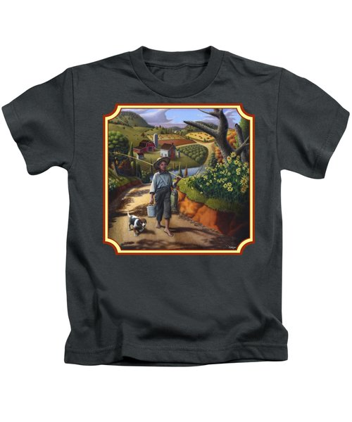 Boy And Dog Country Farm Life Landscape - Square Format Kids T-Shirt by Walt Curlee