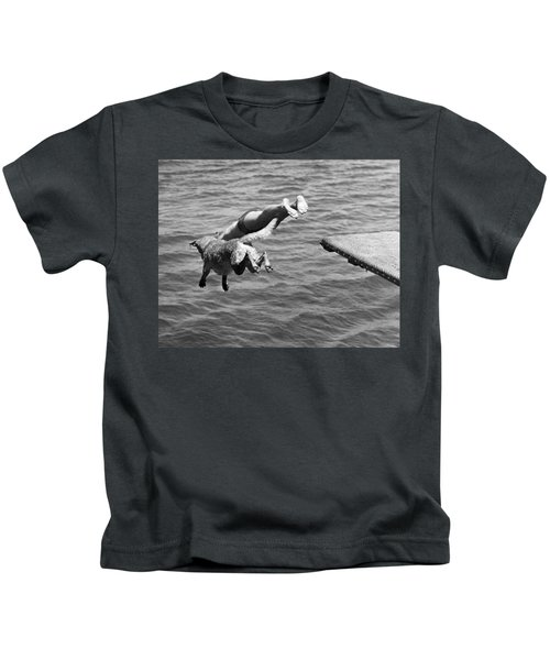 Boy And His Dog Dive Together Kids T-Shirt