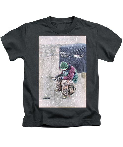 Boy Ice Fishing  Kids T-Shirt