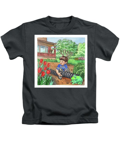 Boy In The Garden Helping Parents Kids T-Shirt