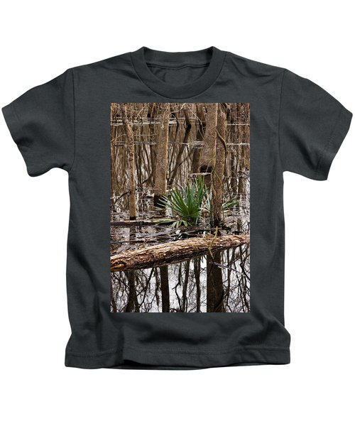 Brazos Bend Swamp In Winter Kids T-Shirt