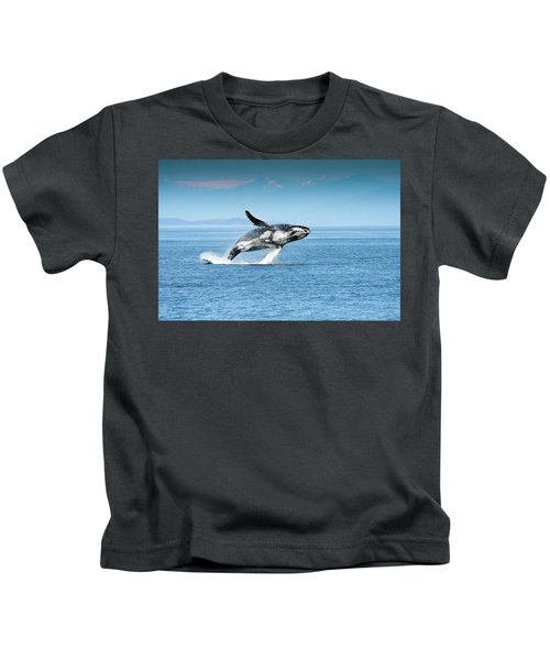 Breaching Humpback Whales Happy-4 Kids T-Shirt