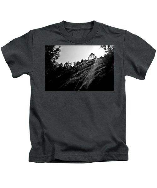 Bridal Veil Falls In Black And White Kids T-Shirt