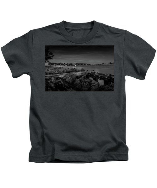 Bridge To Longboat Key In Bw Kids T-Shirt