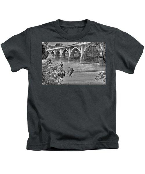 Gervais Street Bridge Black And White Kids T-Shirt