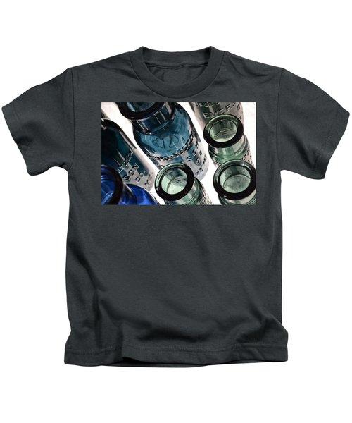 Bromo Seltzer Vintage Glass Bottles - Rare Green And Blue Kids T-Shirt
