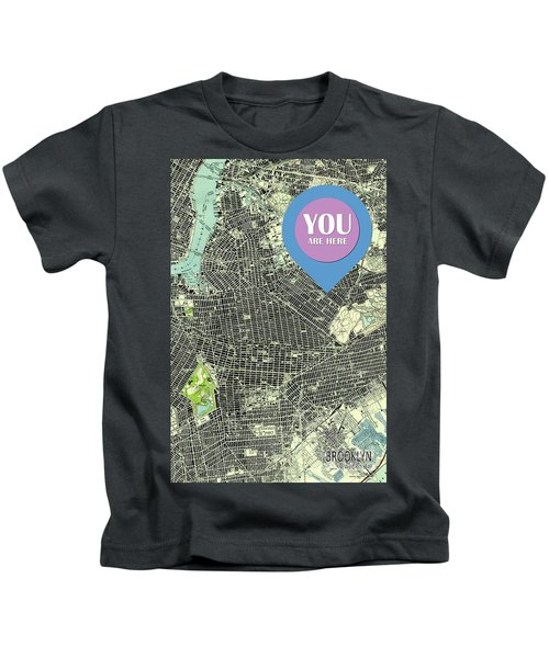 Brooklyn New York 1947 Old Map You Are Here Kids T-Shirt