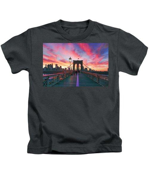Brooklyn Sunset Kids T-Shirt by Rick Berk