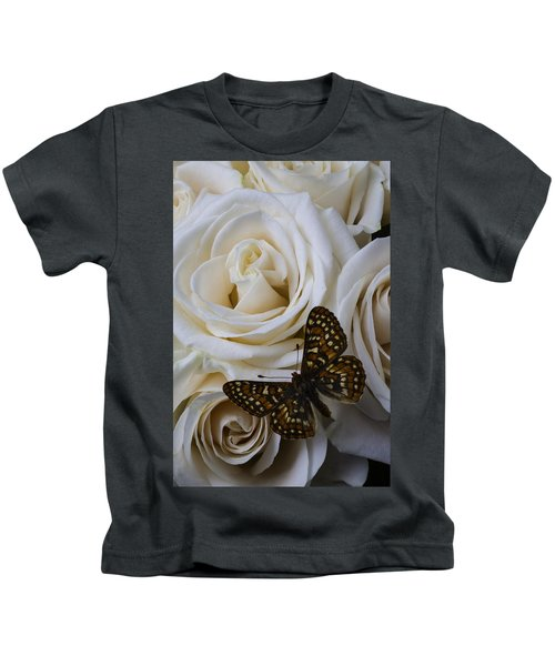 Brown Spotted Butterfly Kids T-Shirt