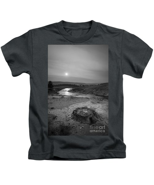 Bubbling Hot Spring In Yellowstone National Park Bw Kids T-Shirt
