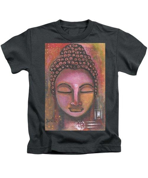 Buddha In Shades Of Purple Kids T-Shirt