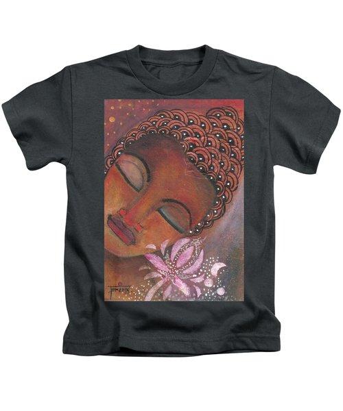Buddha With Pink Lotus Kids T-Shirt