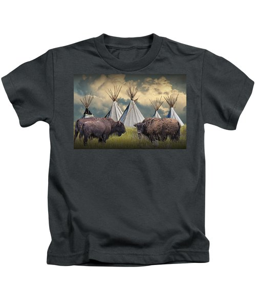 Buffalo Herd On The Reservation Kids T-Shirt