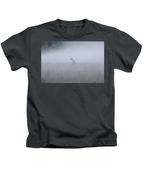 Bull Elk In Fog - September 30, 2016 Kids T-Shirt
