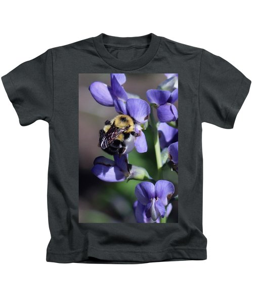 Bumble Bee, Blue Indigo Kids T-Shirt