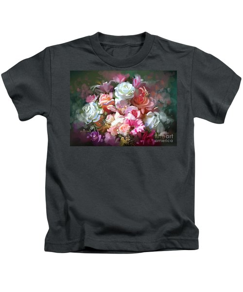 Kids T-Shirt featuring the painting Bunch Of Roses by Tithi Luadthong