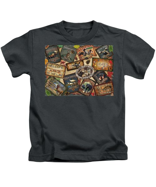Cabin Sign Collage Kids T-Shirt