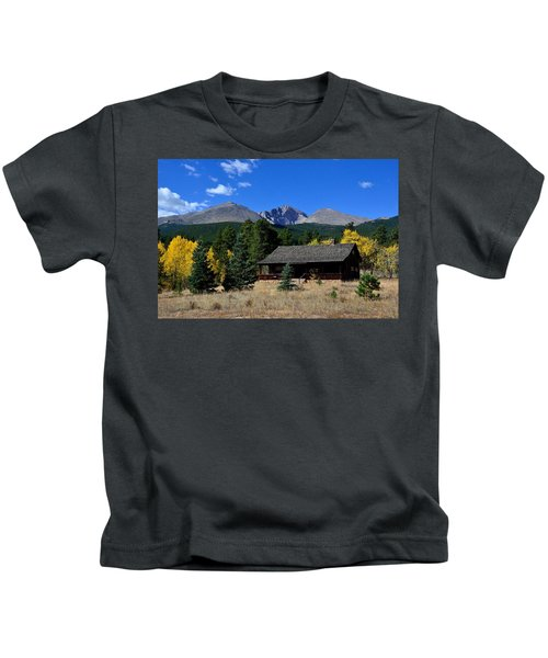 Cabin With A View Of Long's Peak Kids T-Shirt