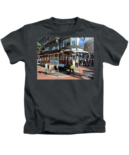 Cable Car At Union Square Kids T-Shirt