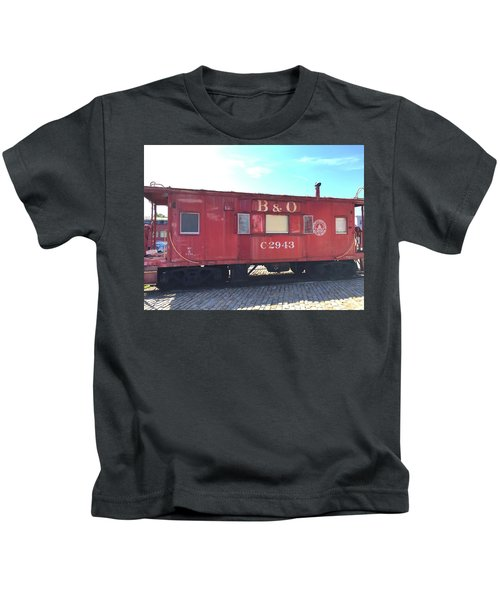 Kids T-Shirt featuring the photograph Caboose by Chris Montcalmo