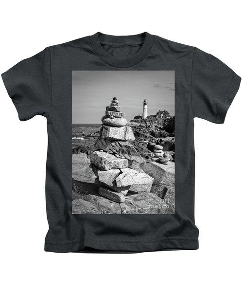 Cairn And Lighthouse  -56052-bw Kids T-Shirt