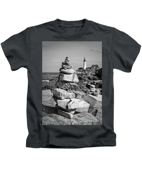 Cairn And Lighthouse  -56052-bw Kids T-Shirt