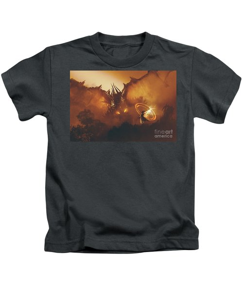 Kids T-Shirt featuring the painting Calling Of The Dragon by Tithi Luadthong