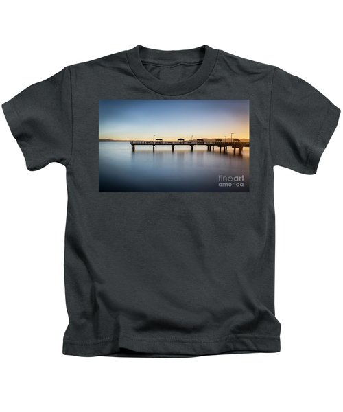 Calm Morning At The Pier Kids T-Shirt