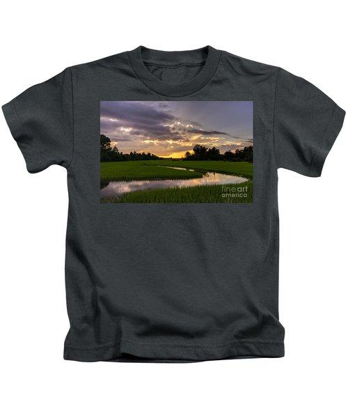 Cambodia Rice Fields Sunset Kids T-Shirt