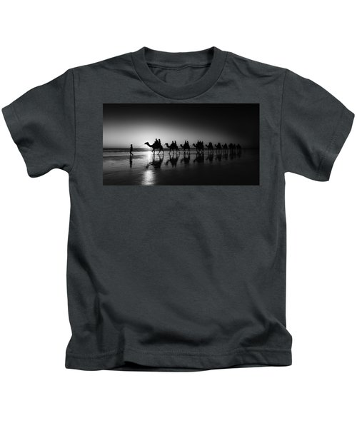 Camels On The Beach Kids T-Shirt