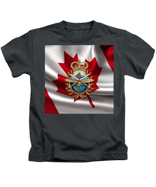 Canadian Forces Emblem Over Flag Kids T-Shirt
