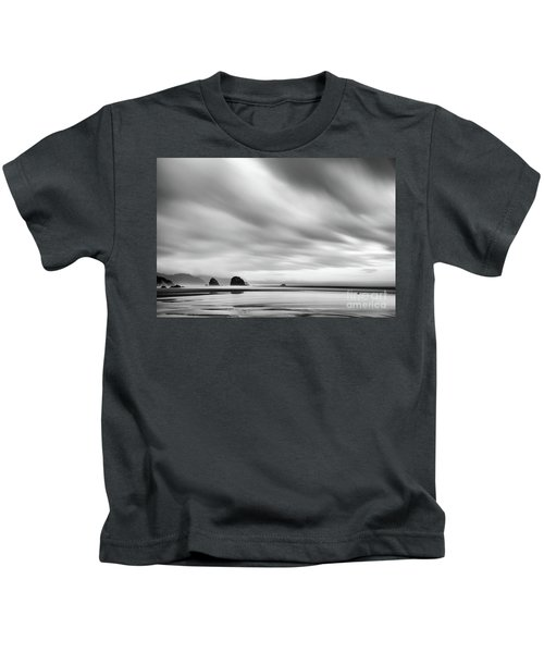Cannon Beach Long Exposure Sunrise In Black And White Kids T-Shirt